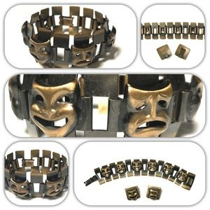 Comedy Tragedy and Modernist Copper Bracelet Set